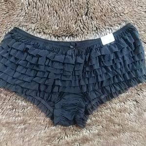 Cacique Black Ruffle Boy Shorts